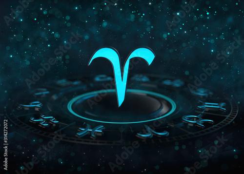 Zodiac Aries symbol above astrological wheel and bokeh at dark Wallpaper Mural