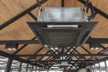 Air Conditioner On Ceiling And Steel Roof Structure For. Concept Interior Decoration Background
