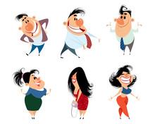 Set Of Caricature People