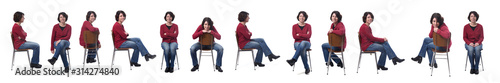 Fotografia woman sitting on a chair with various poses on white