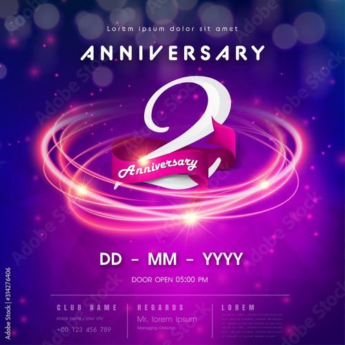 2 years anniversary logo template on purple Abstract futuristic space background. 2nd modern technology design celebrating numbers with Hi-tech network digital technology concept design elements.
