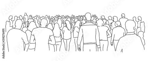 Obraz Crowd of people. Line drawing vector illustration. - fototapety do salonu