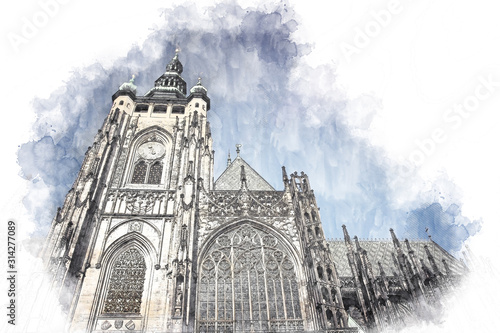 abstract architecture sketch style image of outdoors view of Prague cathedral
