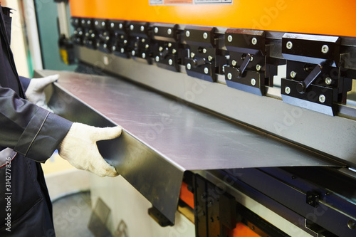 Obraz hydraulic press brake or bending machine for flat sheet metal. - fototapety do salonu