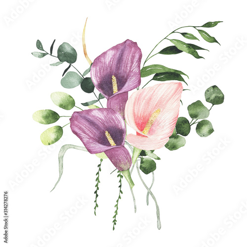 Watercolor floral bouquet with flowers roses calla lily greenery leaves foliage isolated on white background Fototapet