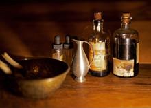 Old Pharmacy Bottles And Bowl ...