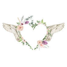 Watercolor Valentines Day Floral Heart Frame With Calla Lily Rose Greenery Leaves Angel Wings Isolated On White Background. Floral Wreath Bohemian Illustration For Wedding Invitation Save The Date