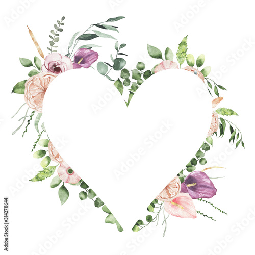 Платно Watercolor Valentines Day floral heart frame with calla lily rose greenery leaves isolated on white background