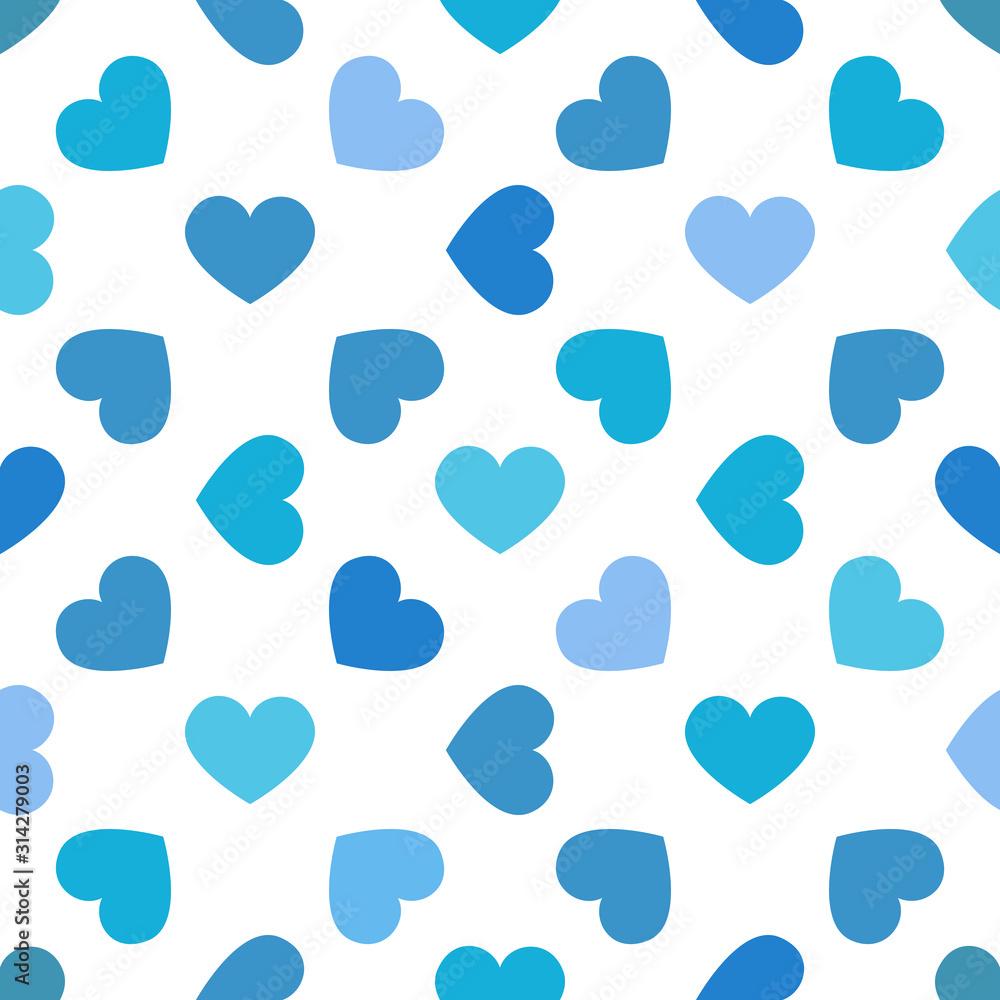 wzór niebieskie serca na białym tle