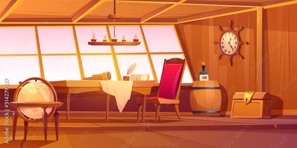 Fototapeta Pirate capitan ship cabin. Vector cartoon illustration of wooden room interior, globe, treasure chest and table with bottle of rum, map and spyglass on table