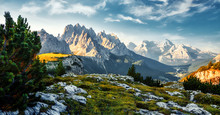 Incredible Colorful Morning Scene Over The Dolomites Alps During Sunrise. Wonderful Nature Landscape. Awesome Alpine Highlands In Sunny Day. Perfect Sky Ahd Majestic Mountains Peaks Under Sunlight