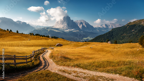 Wall mural - Beautiful alpine countryside. Awesome Alpine highlands in summer. Amazing Nature Scenery of Dolomites Alps. Epic Scene in the mountains place near Seceda peak. Val Gardena. Dolomiti alp. Italy