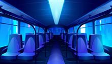 Empty Bus Interior At Night. V...