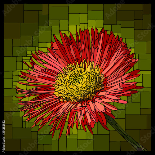 Vector stained glass window with blooming red erigeron. Canvas Print