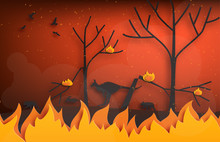 Forest Fires With Silhouettes Of Wild Animals Fleeing Fire In Paper Cut Style. Digital Craft Paper Art.