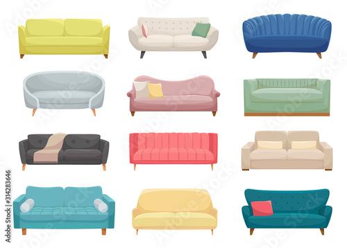 Fototapeta Sofas, furniture pieces flat vector illustrations set