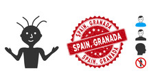 Vector Boy Icon And Distressed Round Stamp Seal With Spain, Granada Caption. Flat Boy Icon Is Isolated On A White Background. Spain, Granada Stamp Seal Uses Red Color And Distress Texture.