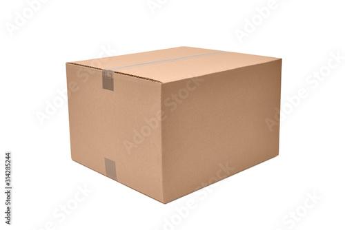 Photo Pudełko kartonowe na białym tle