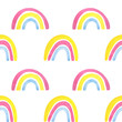 Seamless pattern made of rainbow .Pink, yellow, blue. Festive background for summer and children.Watercolor illustrations on a white background. Cute, fun print