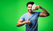 Indian Happy Man With Money Fa...