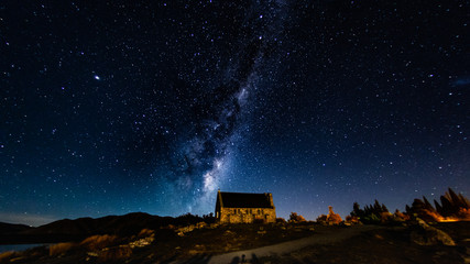 Milky way galaxy with stars and space in the universe background at new zealand.