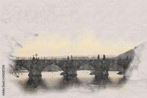 Fototapeta abstract architecture sketch style image of Prague and vltava river. Charles bridge view at sunset obraz na płótnie
