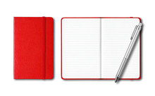 Red Closed And Open Notebooks ...