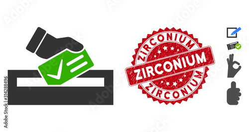 Vector your vote icon and rubber round stamp watermark with Zirconium caption Fototapet