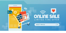 Online Shopping Promotional Sale Banner With Full Shopping Cart And Smartphone