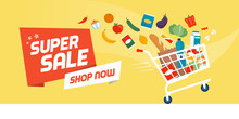 Grocery Shopping Promotional Sale Banner