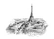 Illustration of paris with eiffel tower. Hand drawn ink sketch converted to vector.
