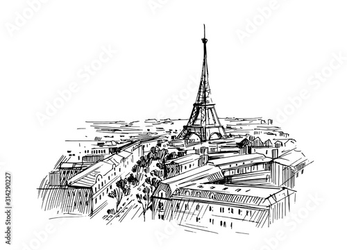 Illustration of paris with eiffel tower. Hand drawn ink sketch converted to vector. - 314290227