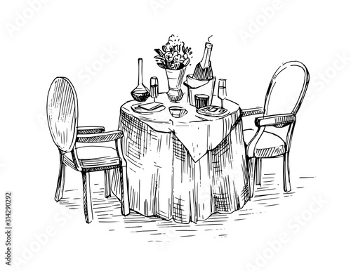 Fotomural Cafe table with chairs. Hand drawn sketch converted to vector