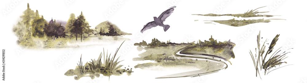 Akwarela krajobraz z lasem, ziołami, ptakiem i polem na białym tle. <span>plik: #314291852 | autor: Elena</span>
