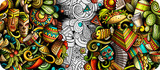 Fototapeta Młodzieżowe - Latin America hand drawn doodle banner. Cartoon detailed flyer.