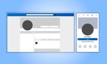 Responsive Profile Page Design. The Same Account On The Smartphone And On The Desktop. Vector Illustration Mock Up.