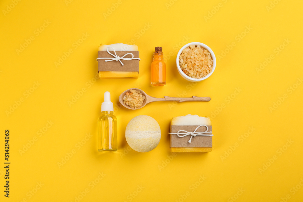 Fototapeta Flat lay composition with natural handmade soap on yellow background