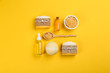 canvas print picture - Flat lay composition with natural handmade soap on yellow background
