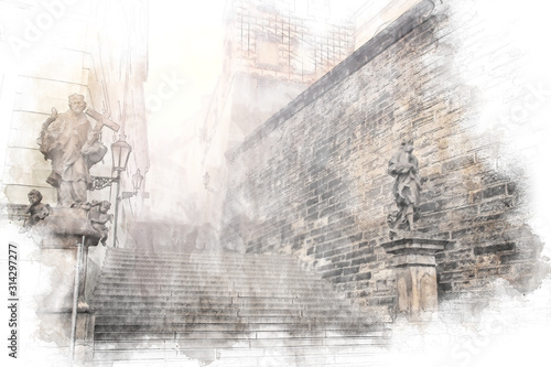 Fototapeta abstract architecture sketch style image of ancient stairs in the Europe obraz