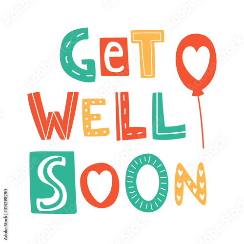 Get well soon hand drown lettering Fototapet