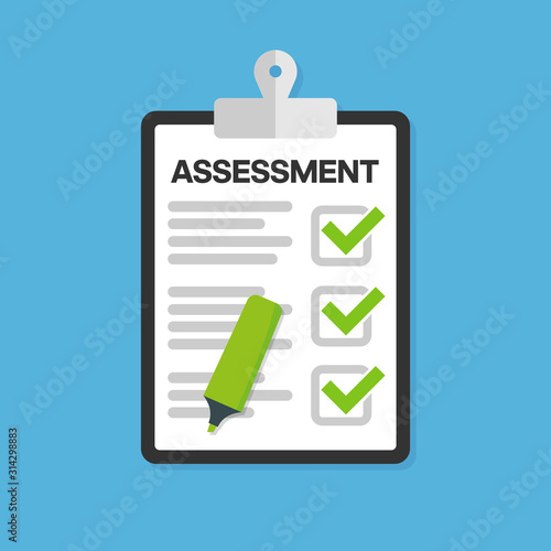 Clipboard checklist with assessment. Vector illustration. Canvas Print