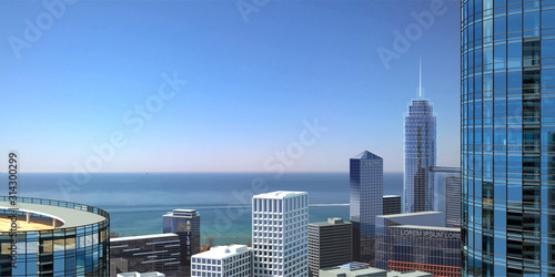 Panorama of a modern metropolis on the ocean Canvas