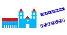 Flat Vector Santa Barbara Mission Icon And Rectangle Santa Barbara Stamps. A Simple Illustration Iconic Design Of Santa Barbara Mission On A White Background.