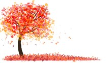 Valentine's Day Background , Tree With Heart Leaves On White Background