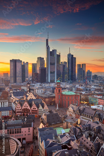 Fototapeta Frankfurt am Main, Germany. Aerial cityscape image of Frankfurt am Main skyline during beautiful sunset. obraz