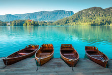 Lake Bled, Wooden Boats And Pi...