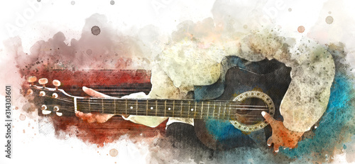 Obraz Abstract colorful playing acoustic guitar on watercolor illustraion painting background. - fototapety do salonu