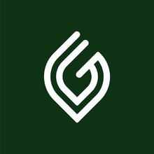 Initial Letter G Logo Template With Leaf Line Art Symbol In Flat Design Monogram Illustration