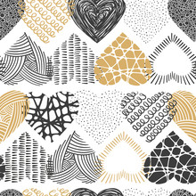 Cute Hand Drawn Doodle Hearts Seamless Pattern, Great For Valentines Day, Fabrics, Invitation Cards, Banner, Wallpaper, Wrapping - Vector Design