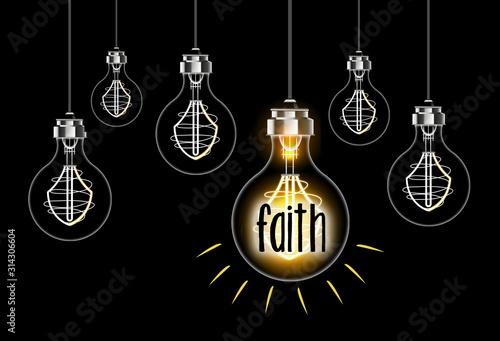 Leinwand Poster Faith concept with lightbulb